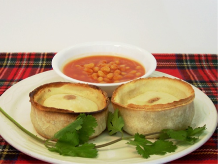 Meat pies and beans