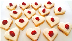 Heart-shaped empire biscuits
