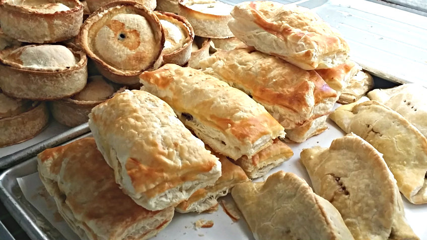 meat pies, bridies  and Cornish pasties
